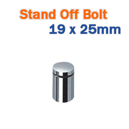 19 x 25mm Stainless Steel Frameless Advertisment Standoff - Chrome Finish Standoff Hardware for Glass