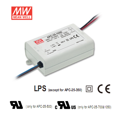 11-33Volt 1050mA Single Output LED Driver - Mean Well LED Power Supply APC-35-1050-35Watt