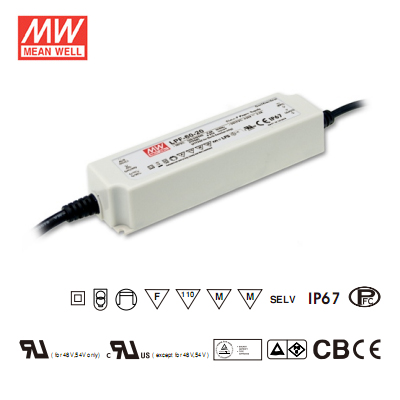 36Volt 1.67Amp Single Output Dimmable LED Driver - Mean Well LED Power Supply LPF-60D-36 60Watt