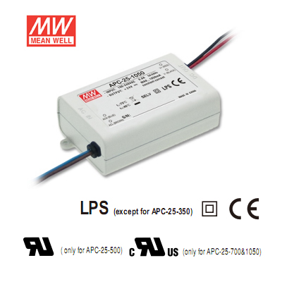 9-24Volt 1050mA Single Output LED Driver - Mean Well LED Power Supply APC-25-1050 25Watt