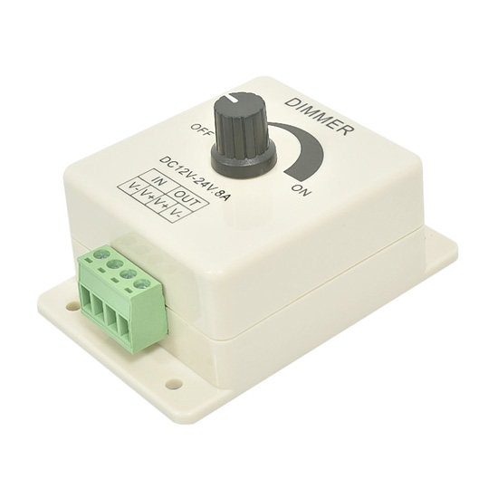8A 12-24v Single Channel PWM LED Dimmer Knob Operated