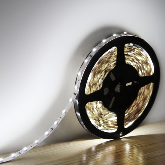 Cool White Flexible LED Strip Light - 12Volt LED Ribbon Light - 3528 Non Waterproof Light Strips 60LEDs/m