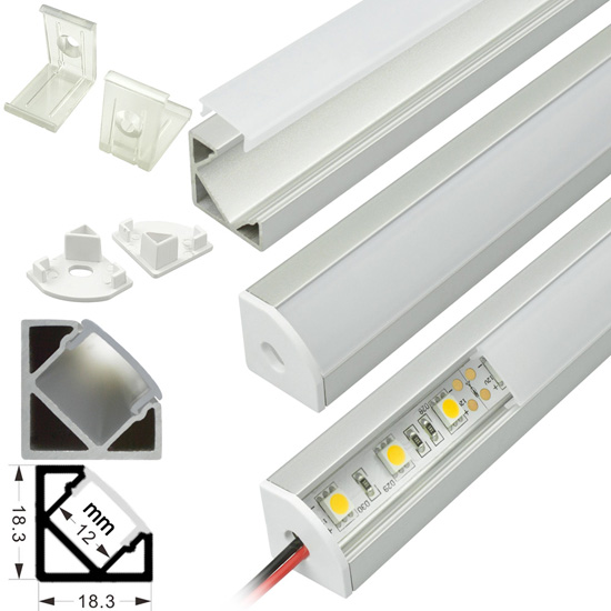Led strip light fixtures aluminum extrusion channel strip corner mount aluminum extrusion profile led strip fixture channel strip light housing aloadofball Choice Image