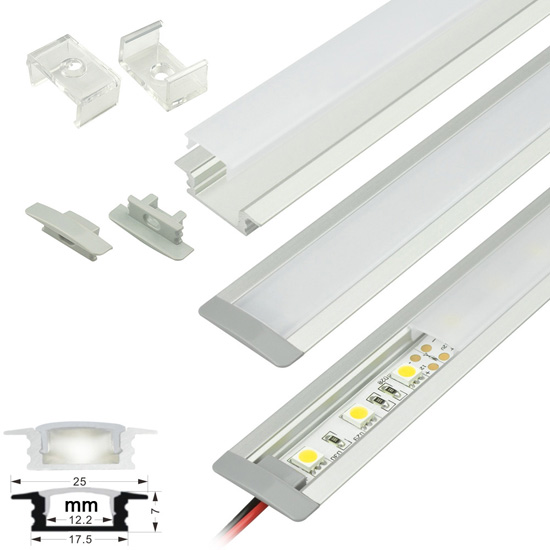 Flush Mount - Aluminum Extrusion Profile LED Strip Fixture Channel - Strip Light Housing