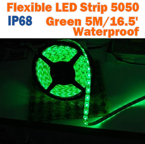 Outdoor Green LED Strip   12Volt Waterproof Tape Light   5050 Exterior IP68  Strips 60LEDs/