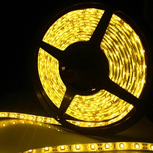 Outdoor Yellow LED Light Strips - 12Volt LED Ribbon Lights - Bright 5050 Waterproof LED Strip 60LEDs/m