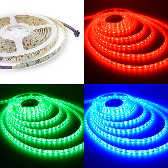 Rgb Led Strip Lights 12volt Multi Color Tape 5050 Non Waterproof