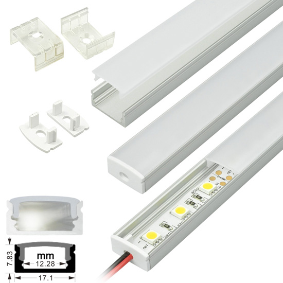 Led strip light fixtures aluminum extrusion channel strip surface mount aluminum extrusion profile led strip fixture channel strip light housing aloadofball Choice Image