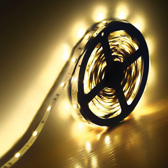 Warm White Flexible LED Strip Light - 12Volt LED Ribbon Light - 5050 Non Waterproof Light Strips 30LEDs/m