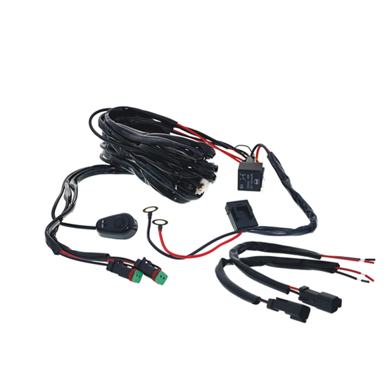 LED Light Wiring Harness Kit Dual Output DT Connector for LED Work Light Bar led work light bar accessories switch relay wiring harness kits wire harness accessories at eliteediting.co